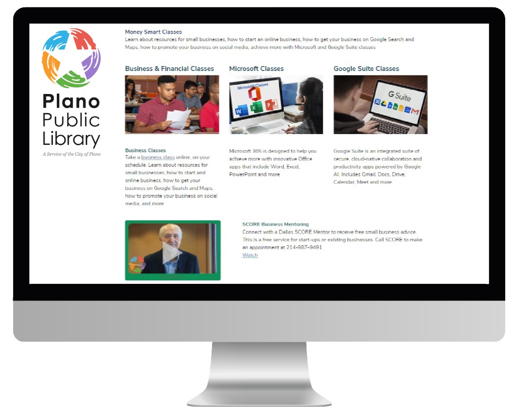 Screenshot of Plano Public Library's Money Smart page