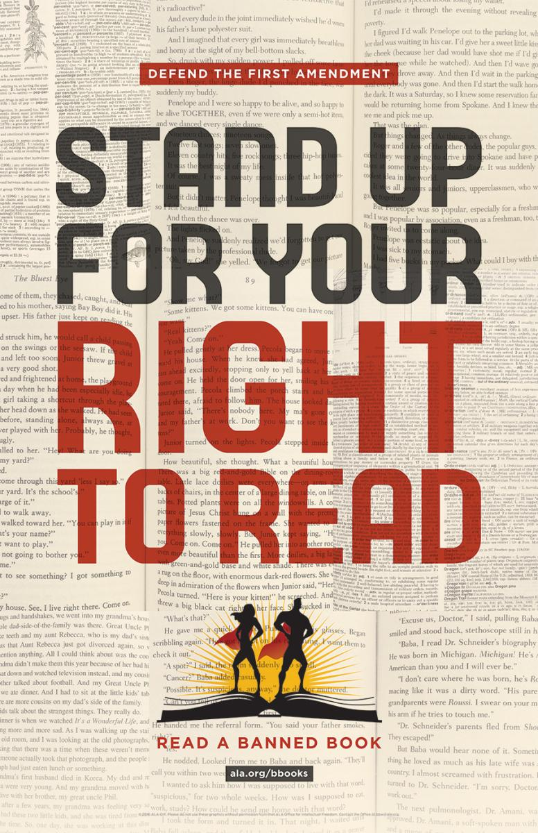 Banned Books Week poster: Stand Up for Your Right to Read
