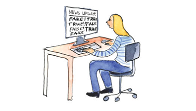 "A cartoon drawing of a girl sitting at a desk in front of a computer that has the words ""news update, fake, true"" written across the screen."