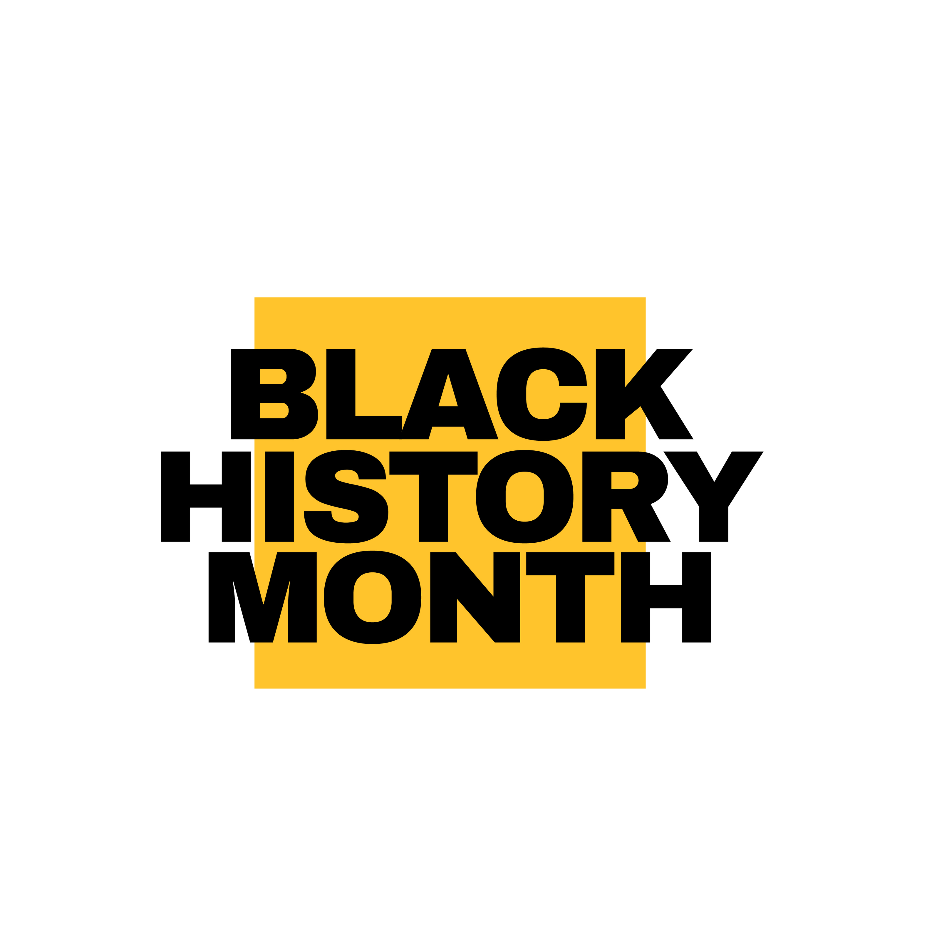 """Black text on yellow square reads """"Black History Month"""""""