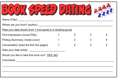 Scorecard entitled Book Speed Dating