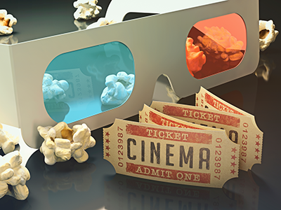 3D glasses, tickets and popcorn