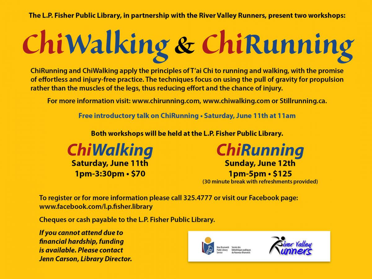 Photo by Jenn Carson. Advertisement for the ChiWalking and ChiRunning workshops