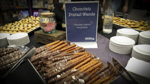 Chocolate pretzel wands and other Harry Potter-themed snacks
