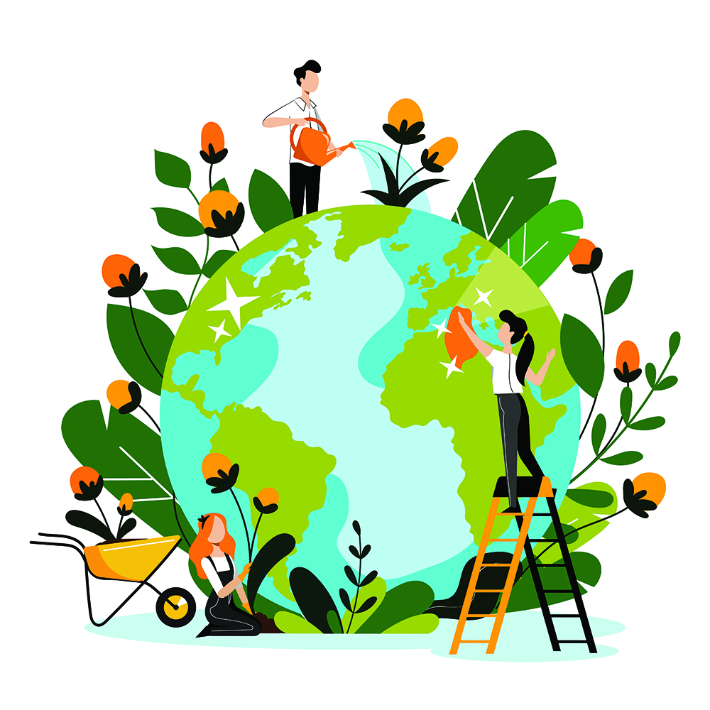 Illustration of the earth with people tending to plants