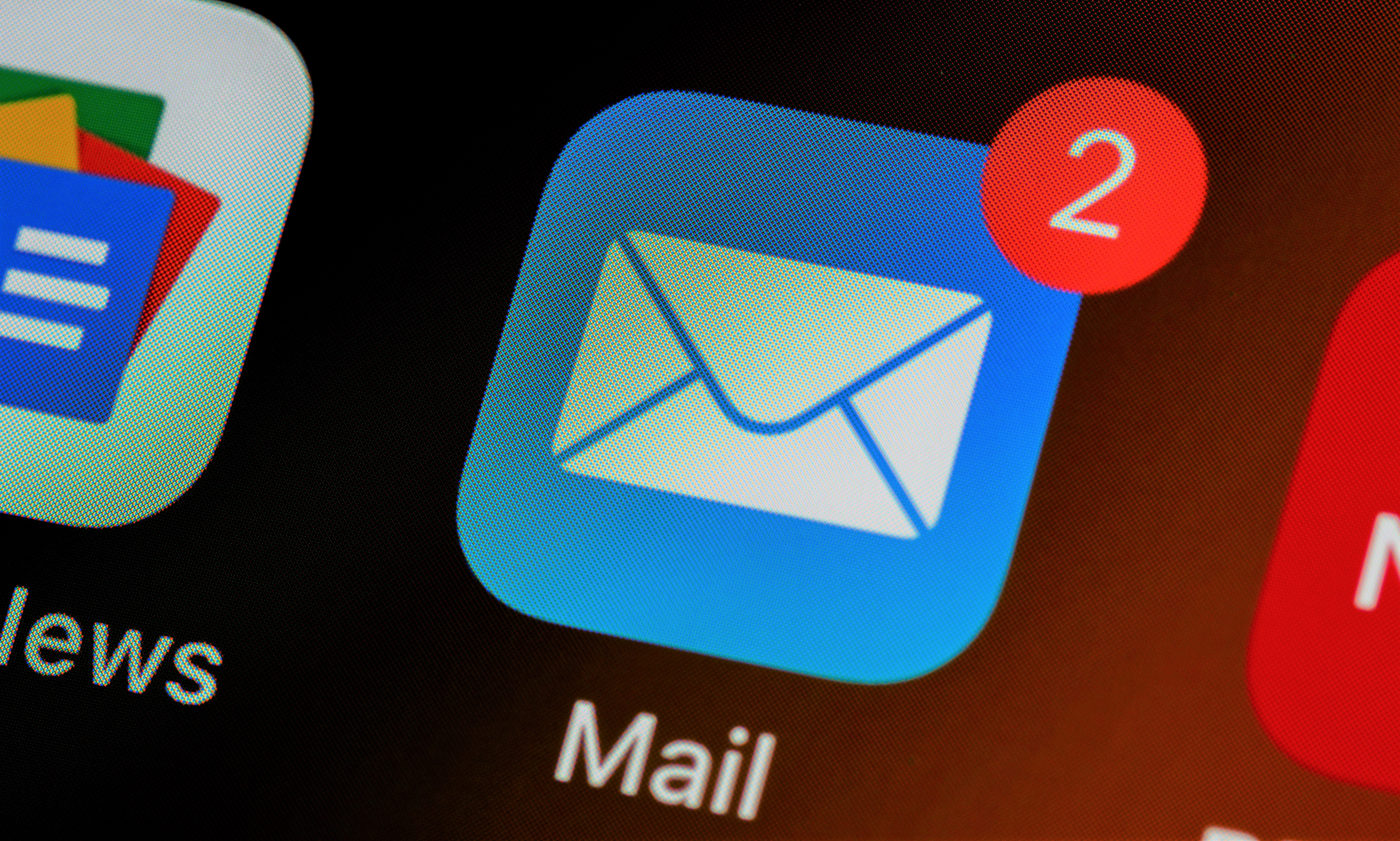 Photo of email icon on phone.