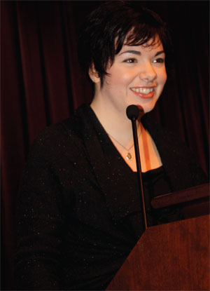 Erin Morgenstern, author of The Night Circus, speaks to the crowd at a recent Salon@615 event.