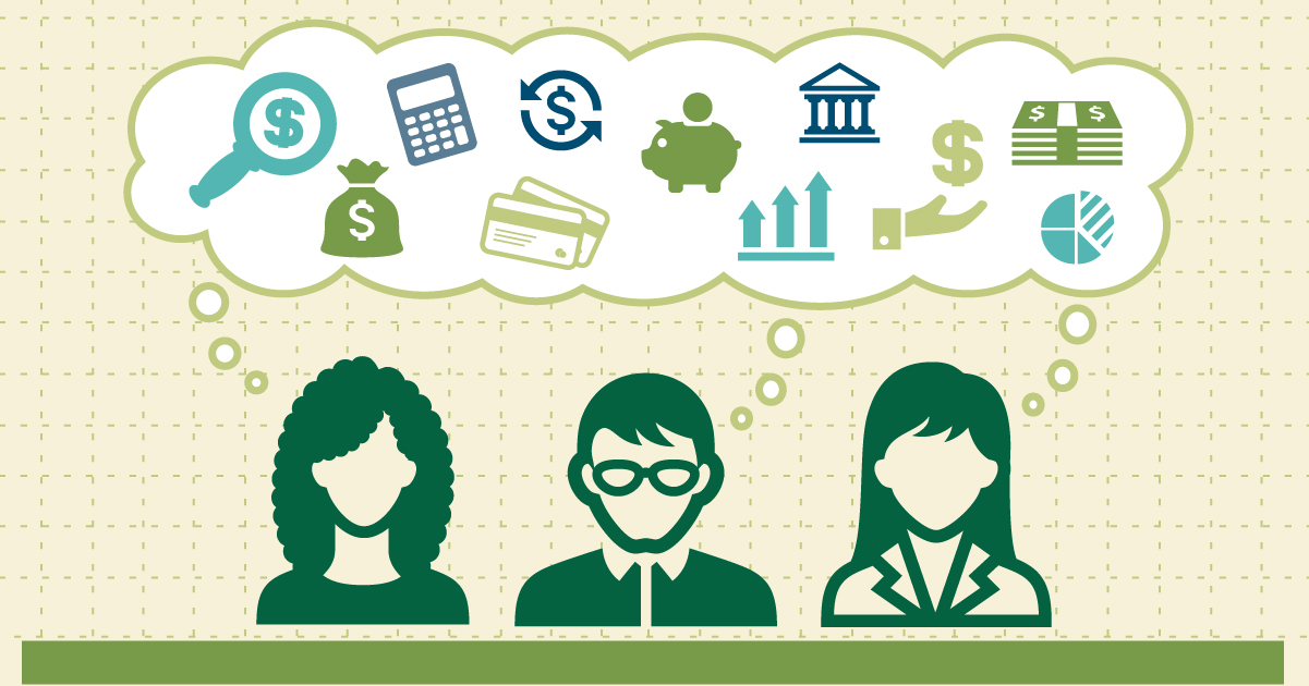Illustration of three people with financial icons above.