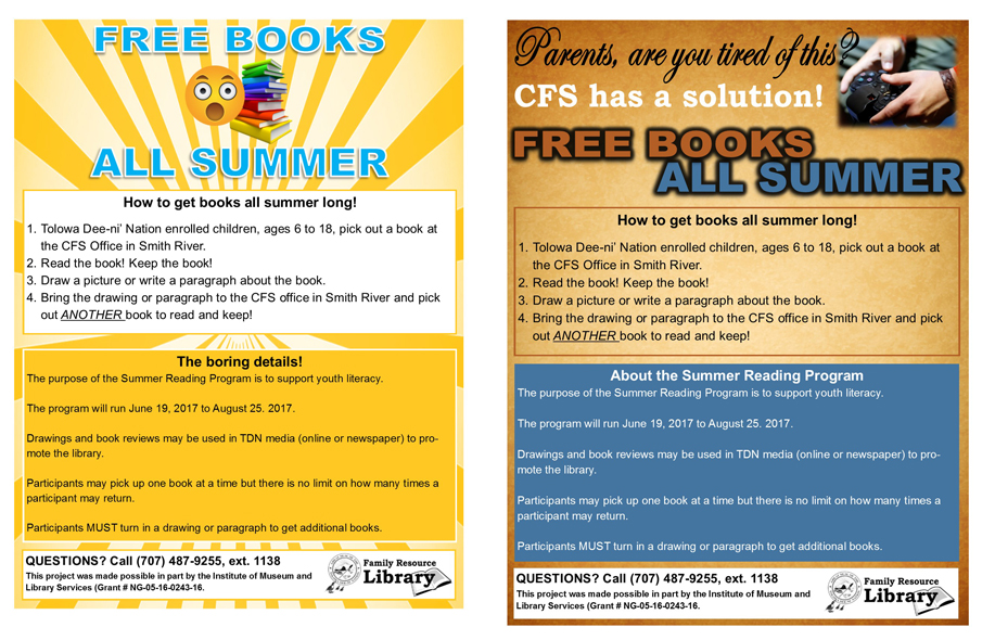 """Free books"" fliers for kids and parents"