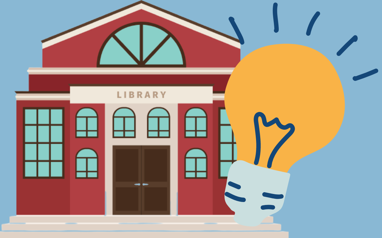Illustration of library building with an illustrated yellow lightbulb next to it.