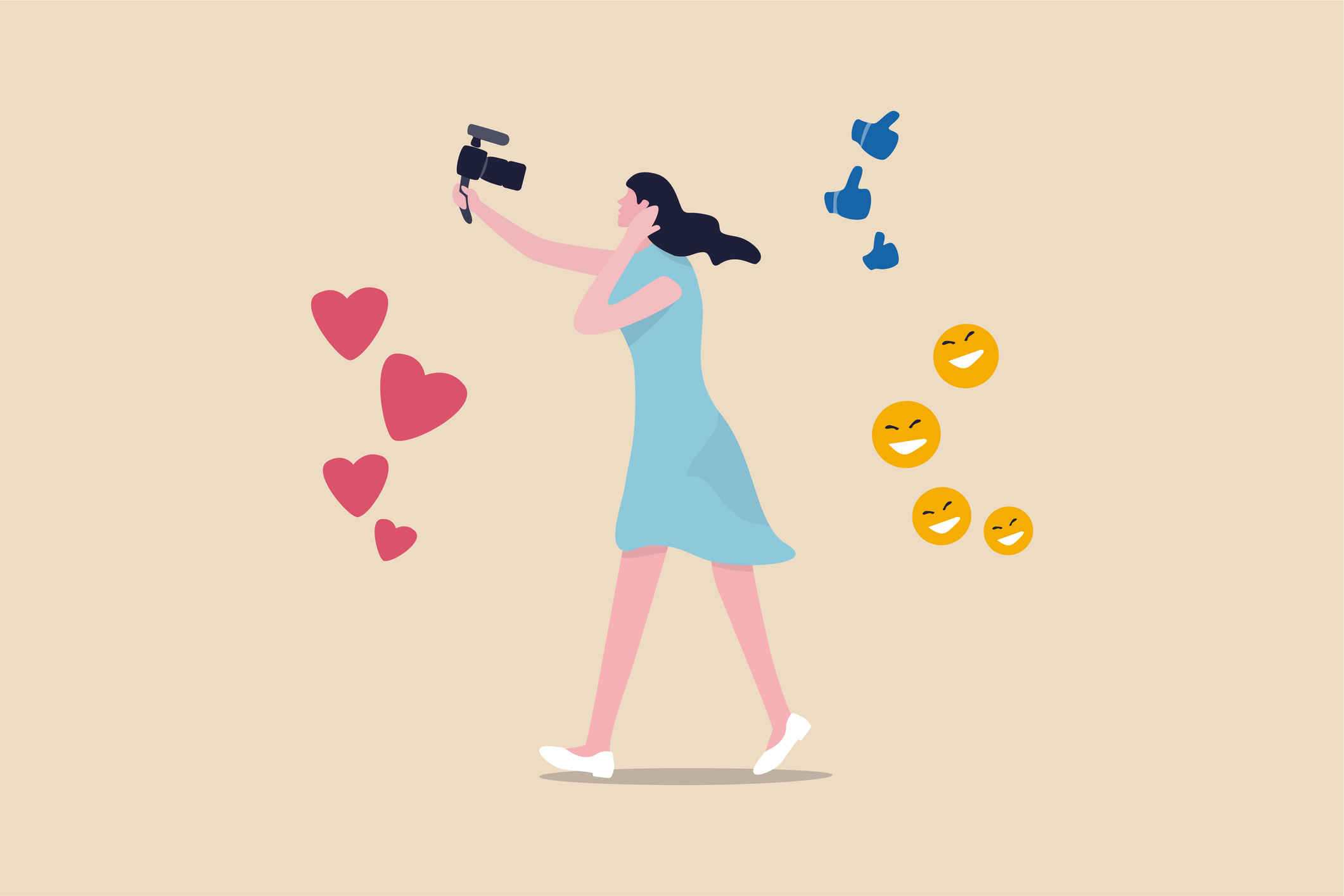 Illustration of person talking into the camera with emojis surrounding.