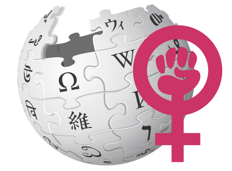 Wikipedia logo with feminism symbol