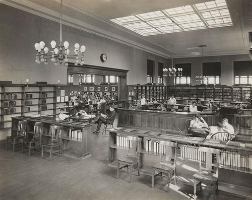An interior view of the Kingsessing Library, circa 1919.