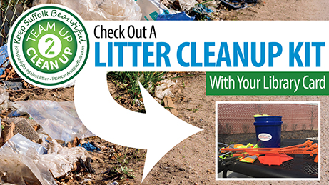 "Sign that reads ""Check out a litter clean up kit with your library card."" There is an image of a bucket with gloves to represent the kit."