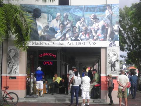 People tour Miami's Little Havana neighborhood on a tour organized by Barry University's Monsignor William Barry Memorial Library.