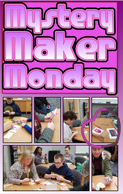"A collage of images showing students sitting at wooden tables, making crafts with a heading that reads ""Makers Monday"""