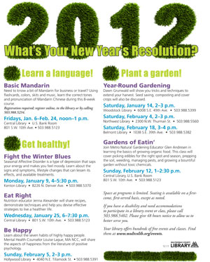 "Flier announcing Multnomah County (Ore.) Library's ""new"" New Year's resolutions program."