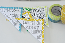 These page-corner bookmarks serve as a colorful reminder to keep reading. Photo courtesy of Molly Balint from MommyCoddle