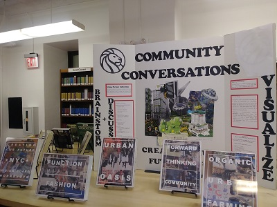Community Conversations poster and books explaining the NYPL Picture Collection and how to use it