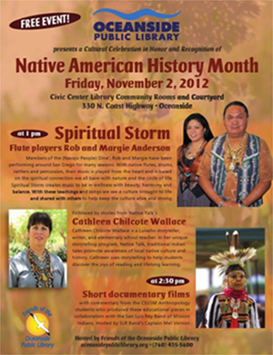 Flyer for the 2012 Native American History Month events.