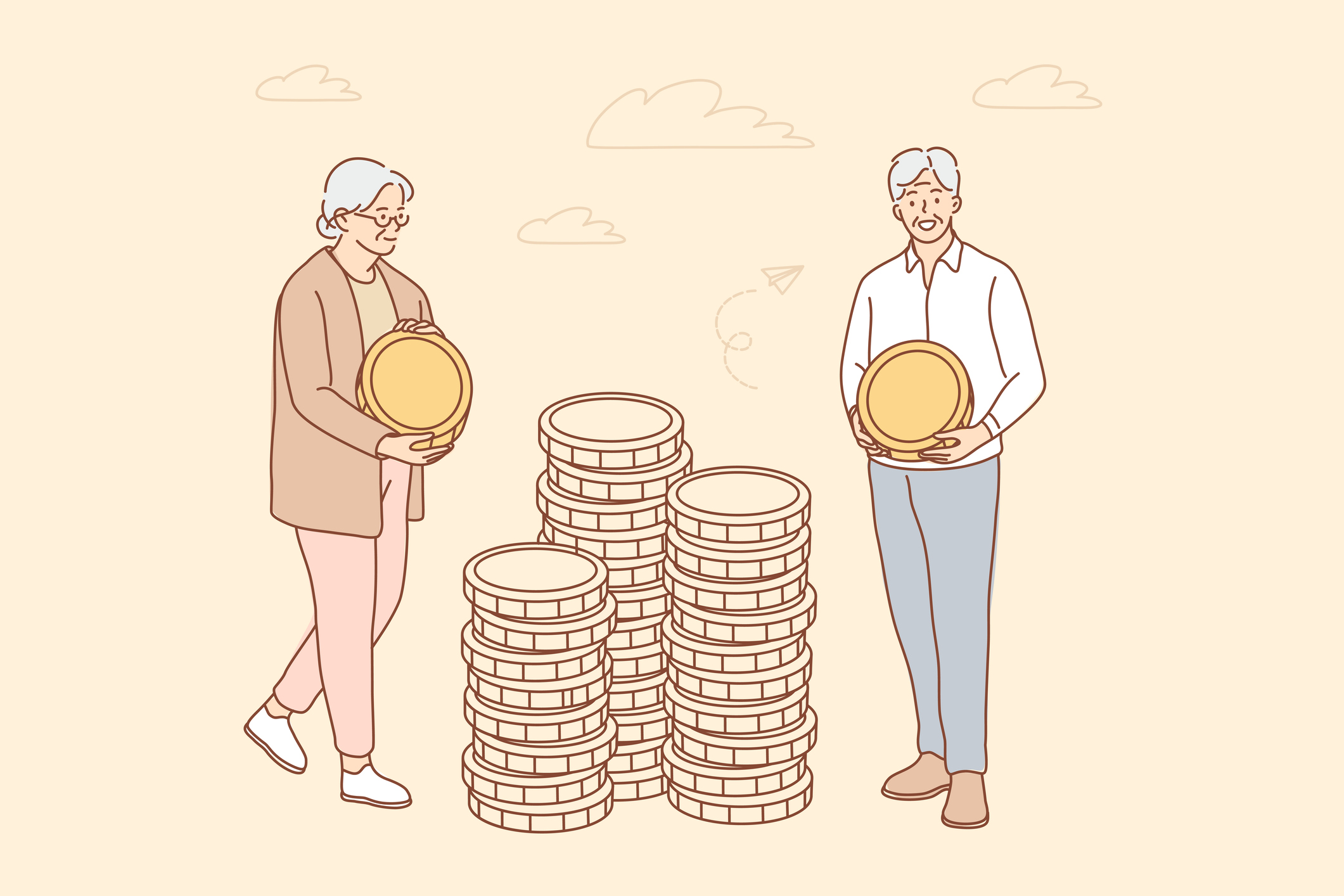 Illustration of senior couple carrying large coins.