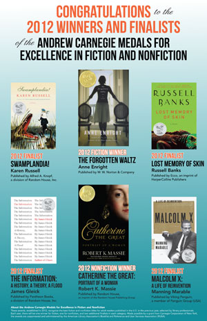 Poster for the 2012 Andrew Carnegie Medals for Excellence in Fiction and Nonfiction.