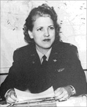 "Jackie Cochran, one of America's leading aviators, headed the Women Airforce Service Pilots (WASP) program during World War II.  image courtesy of ""Wings Across America"" from the National Archives and Records Administration"