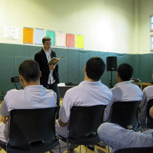 Coert Vorhees visits teens at the Gardner Betts Juvenile Justice Center in Austin, Texas.