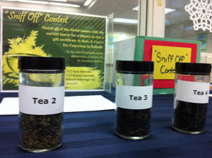 Mystery teas at the Kishwaukee College Sniff Off Contest.