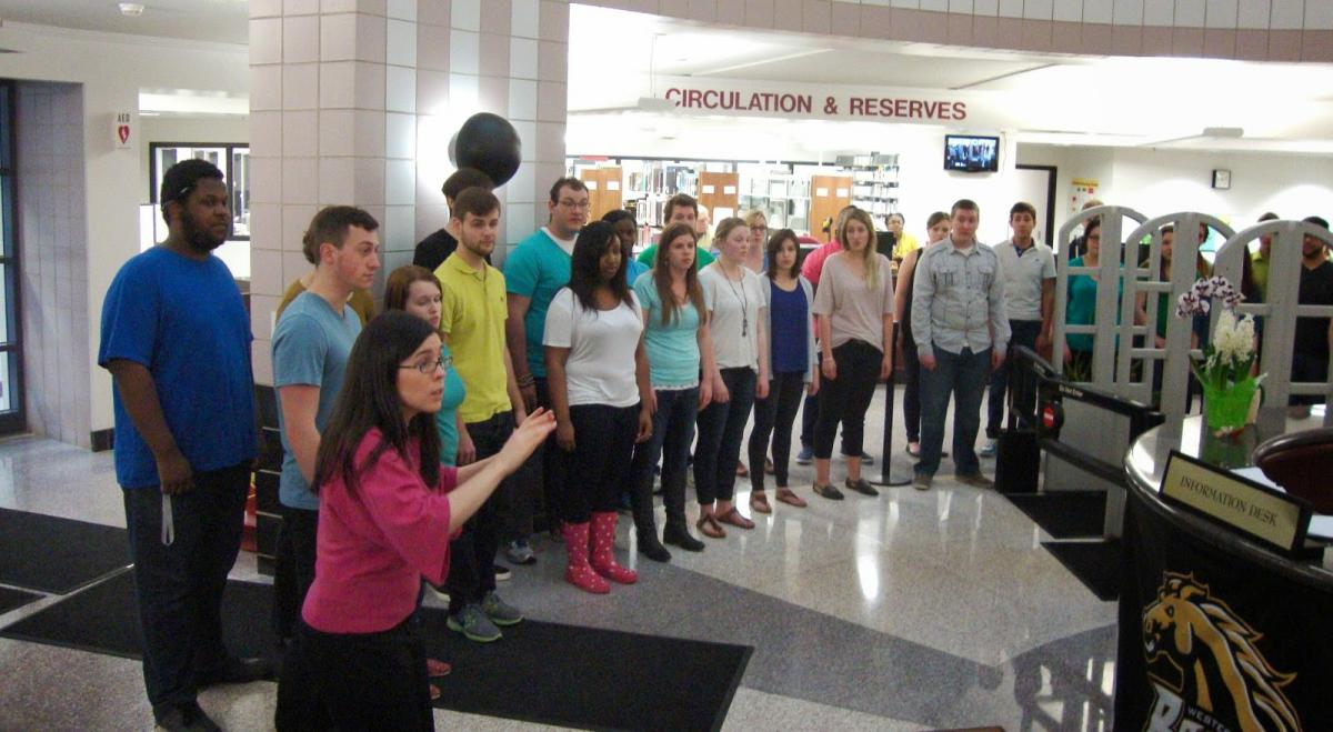 The WMU Collegiate Singers group perform at the Poetry of Song event.