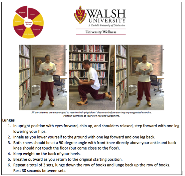 A poster encouraging students to do lunges in the library, part of Walsh University's wellness programming