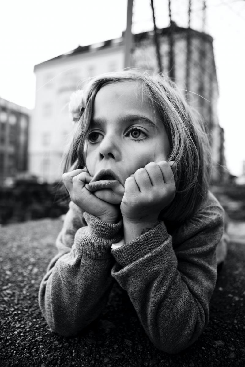 grayscale photo of an exasperated-looking girl