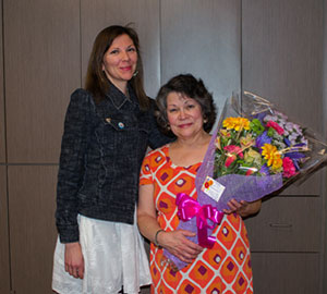 Dance instructor Deborah Halle receiving flowers