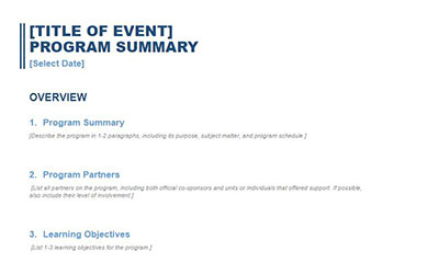 Screengrab of executive summary form