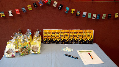 A decorated table for a book talk program