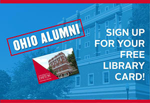 Ad for Ohio alumni to get a library card