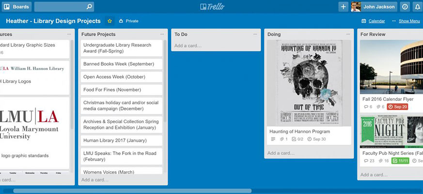 A screenshot of a project management page on Trello