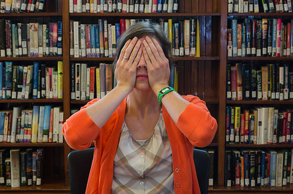 Jenn Carson covering eyes