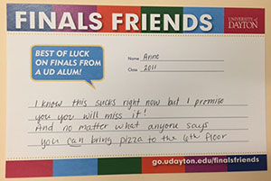 Finals friends card with encouragement for current students