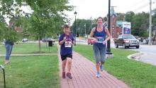 The author and her son run the Hampton 5 Miler