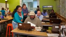 People working in the Chicago Public Library Maker Lab (Chicago Public Library photo)