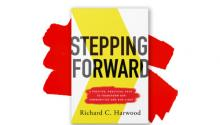 "Cover of Rich Harwood's book, ""Stepping Forward"""
