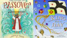 "Image of two book covers left to right: ""The Story of Passover"" by David A. Adler, ""King for a Day"" by Rukhsana Khan"