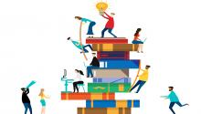 Illustration of people helping each other up a stack of large books.