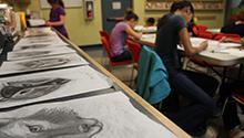 Teens at a drawing workshop