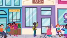 Illustration of children wavin  in front a bank.