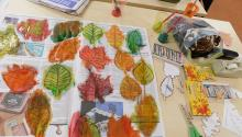 Painted leaf cutouts on newspaper