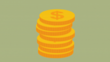 Illustration of stack of coins against green background