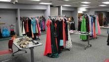 Room of dresses on racks