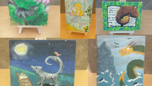 Photograph shows the five winning canvases of the contest.